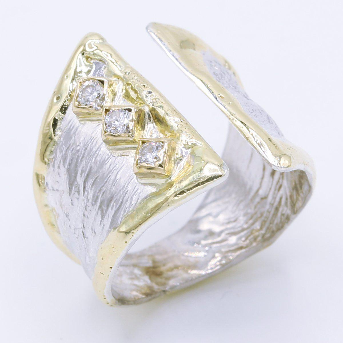 14K Gold & Crystalline Silver Diamond Ring - 34897-Fusion Designs-Renee Taylor Gallery
