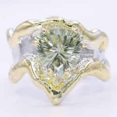 14K Gold & Crystalline Silver Prasiolite Ring - 34901-Fusion Designs-Renee Taylor Gallery