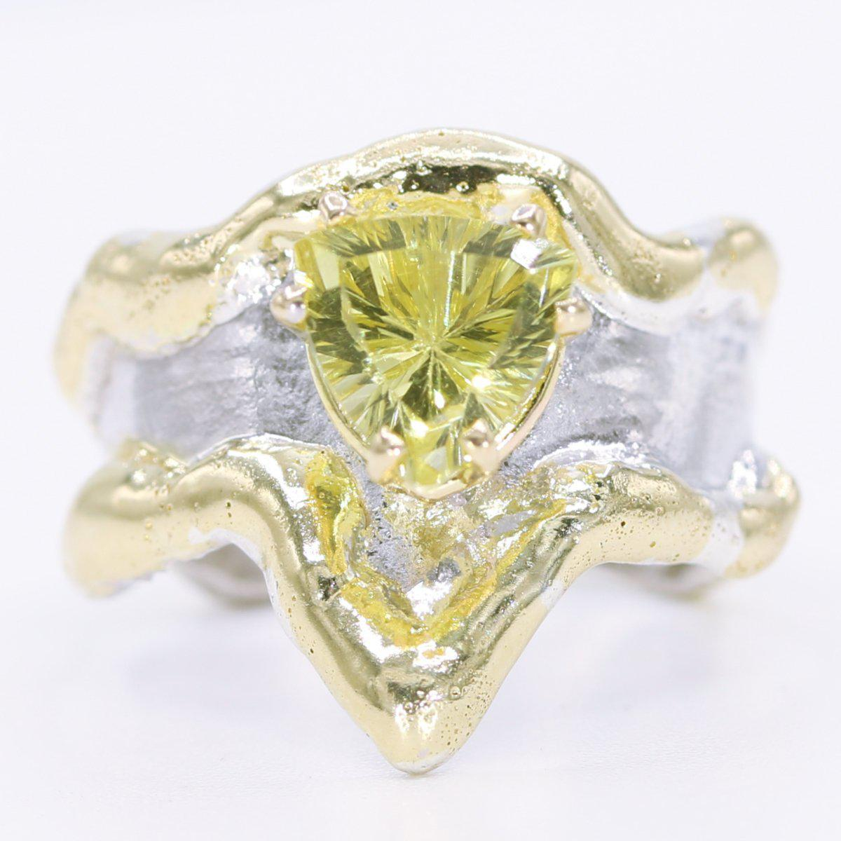 14K Gold & Crystalline Silver Margarita Quartz Ring - 34902-Fusion Designs-Renee Taylor Gallery
