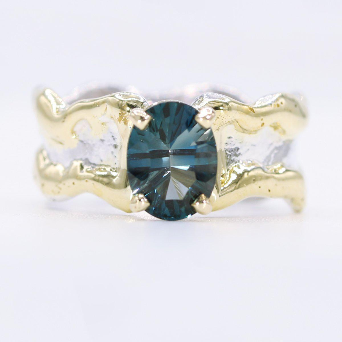 14K Gold & Crystalline Silver London Blue Topaz Ring - 34904-Fusion Designs-Renee Taylor Gallery