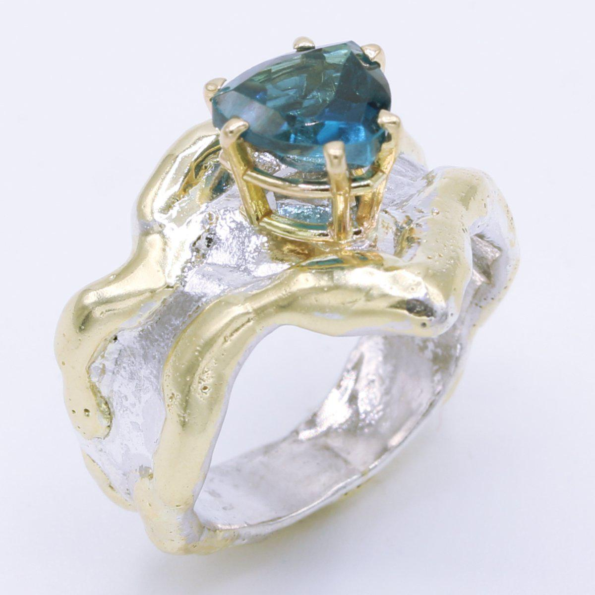 14K Gold & Crystalline Silver London Blue Topaz Ring - 34906-Fusion Designs-Renee Taylor Gallery