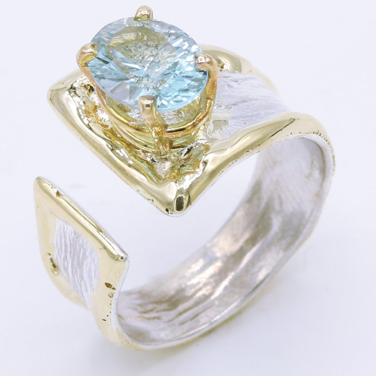 14K Gold & Crystalline Silver Sky Blue Topaz Ring - 34908-Fusion Designs-Renee Taylor Gallery