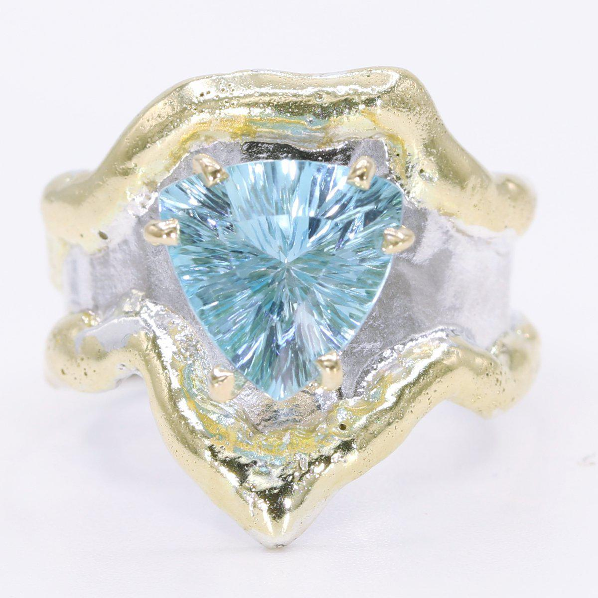 14K Gold & Crystalline Silver Sky Blue Topaz Ring - 34909-Fusion Designs-Renee Taylor Gallery