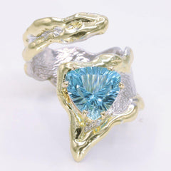 14K Gold & Crystalline Silver Sky Blue Topaz Ring - 34910-Fusion Designs-Renee Taylor Gallery