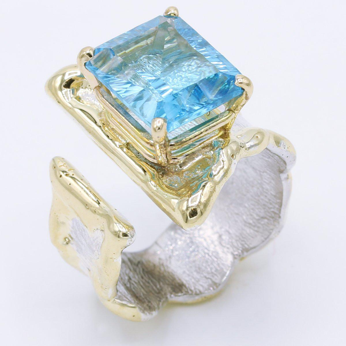 14K Gold & Crystalline Silver Blue Topaz Ring - 34911