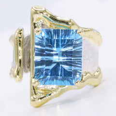 14K Gold & Crystalline Silver Blue Topaz Ring - 34911-Fusion Designs-Renee Taylor Gallery