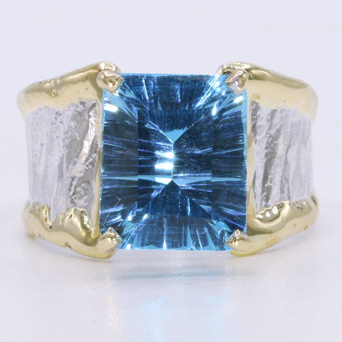 14K Gold & Crystalline Silver Blue Topaz Ring - 34912-Fusion Designs-Renee Taylor Gallery