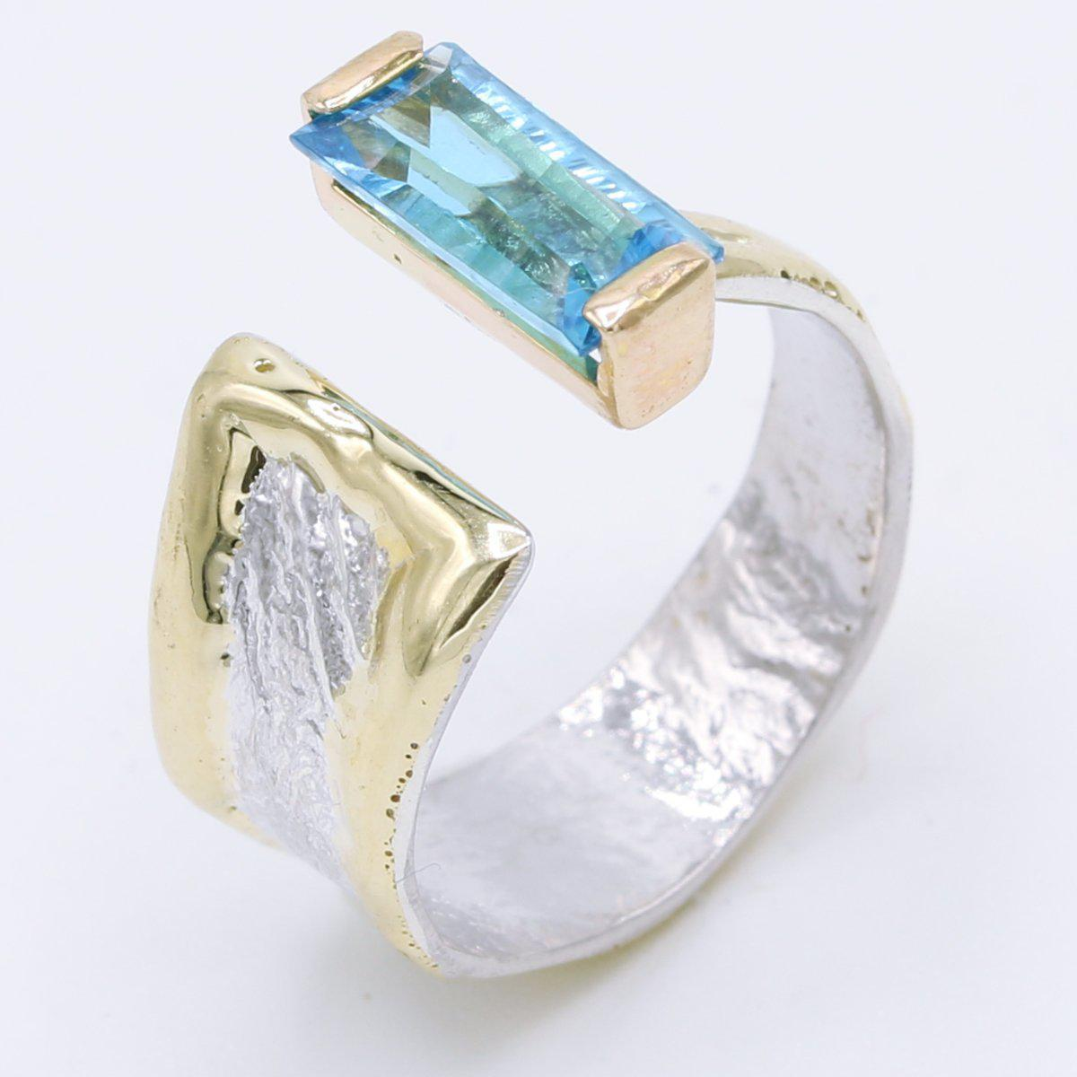 14K Gold & Crystalline Silver Blue Topaz Ring - 34913-Fusion Designs-Renee Taylor Gallery