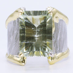 14K Gold & Crystalline Silver Prasiolite Ring - 34976-Fusion Designs-Renee Taylor Gallery