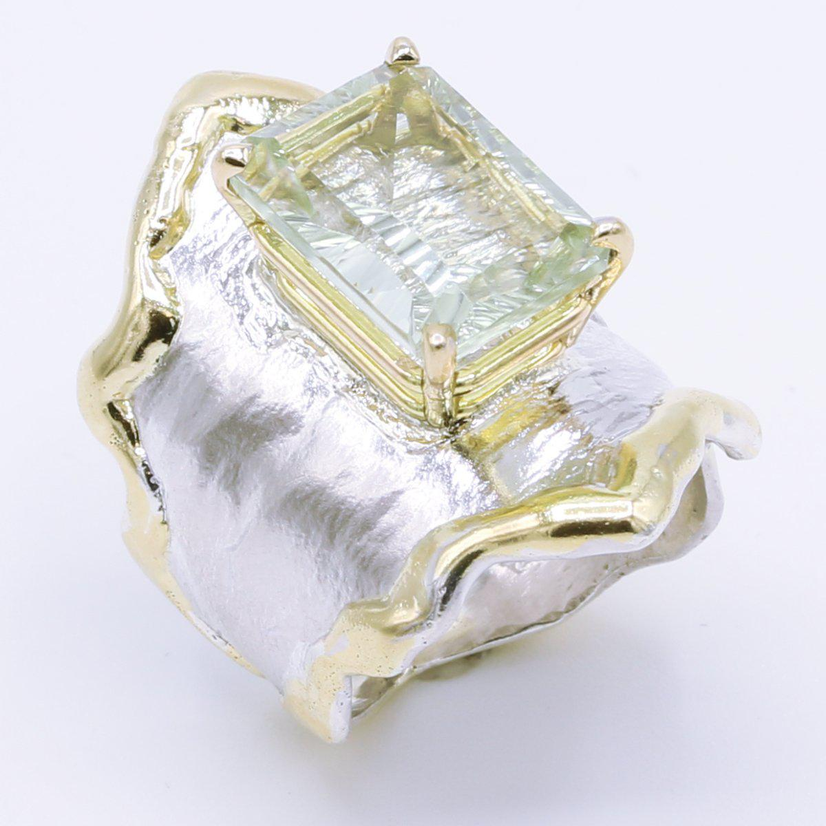 14K Gold & Crystalline Silver Prasiolite Ring - 34977-Fusion Designs-Renee Taylor Gallery