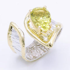 14K Gold & Crystalline Silver Margarita Quartz Ring - 34979-Fusion Designs-Renee Taylor Gallery