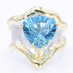 14K Gold & Crystalline Silver Blue Topaz Ring - 34981-Fusion Designs-Renee Taylor Gallery