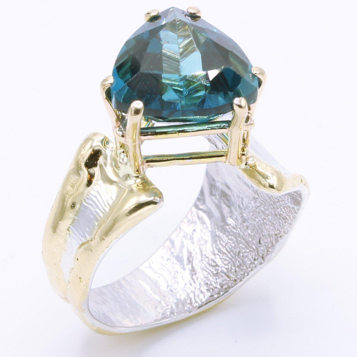 14K Gold & Crystalline Silver London Blue Topaz Ring - 34982