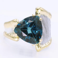 14K Gold & Crystalline Silver London Blue Topaz Ring - 34982-Fusion Designs-Renee Taylor Gallery