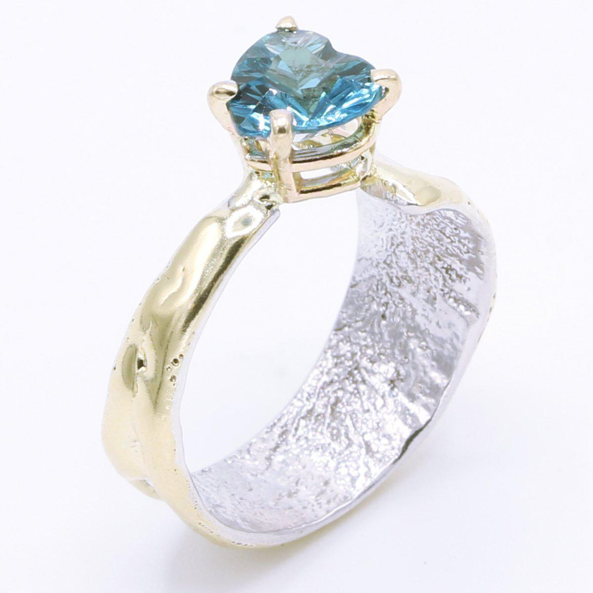 14K Gold & Crystalline Silver London Blue Topaz Heart Ring - 34983 - Fusion Designs