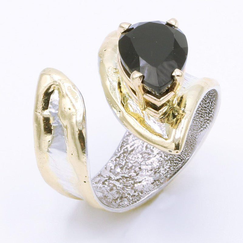 14K Gold & Crystalline Silver Onyx Ring - 34984-Fusion Designs-Renee Taylor Gallery