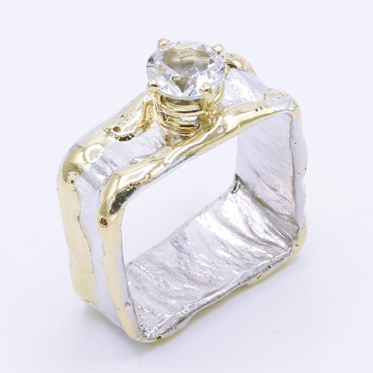 14K Gold & Crystalline Silver White Topaz Ring - 34985-Fusion Designs-Renee Taylor Gallery