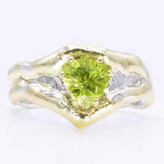 14K Gold & Crystalline Silver Peridot Ring - 34986-Fusion Designs-Renee Taylor Gallery