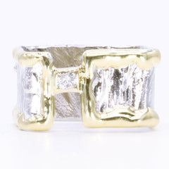14K Gold & Crystalline Silver Diamond Ring - 34988-Fusion Designs-Renee Taylor Gallery