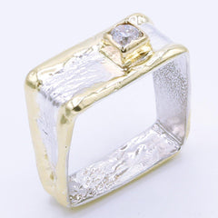 14K Gold & Crystalline Silver Diamond Ring - 34989-Fusion Designs-Renee Taylor Gallery