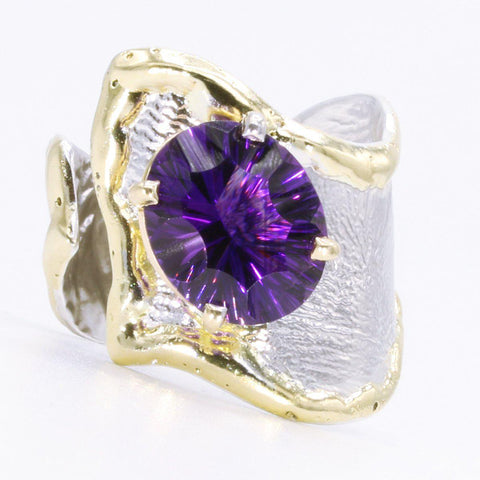 14K Gold & Crystalline Silver Amethyst Ring - 34991-Fusion Designs-Renee Taylor Gallery