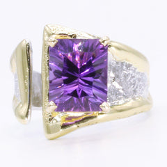 14K Gold & Crystalline Silver Amethyst Ring - 34992-Fusion Designs-Renee Taylor Gallery