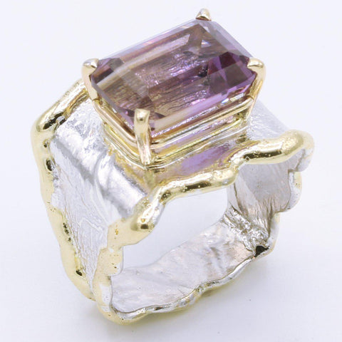 14K Gold & Crystalline Silver Ametrine Ring - 34993-Fusion Designs-Renee Taylor Gallery