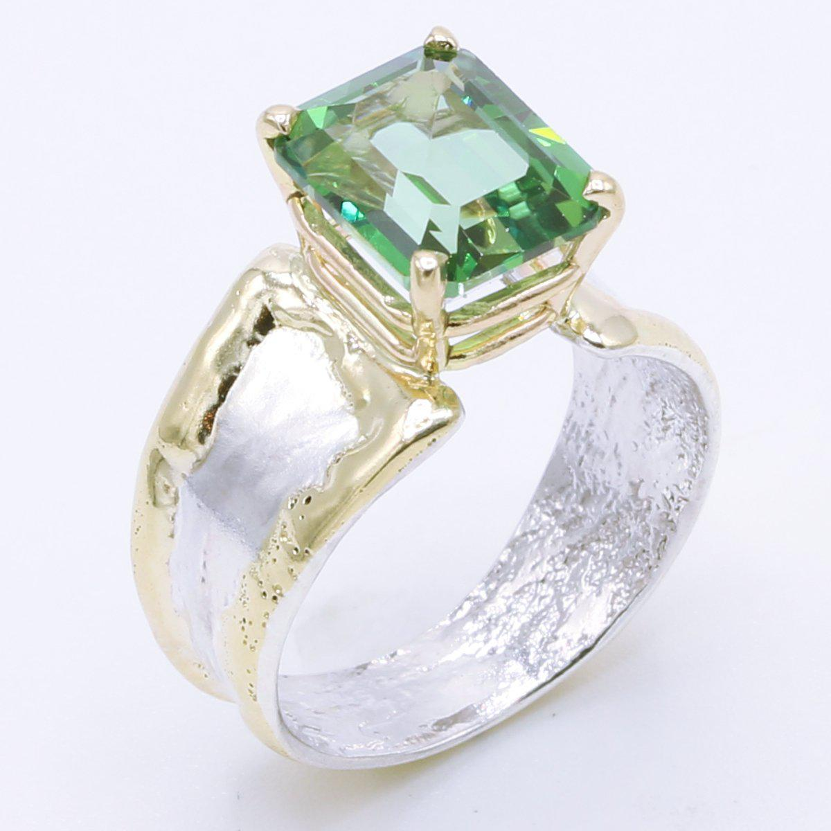 14K Gold & Crystalline Silver Rainforest Green Topaz Ring - 34995-Fusion Designs-Renee Taylor Gallery
