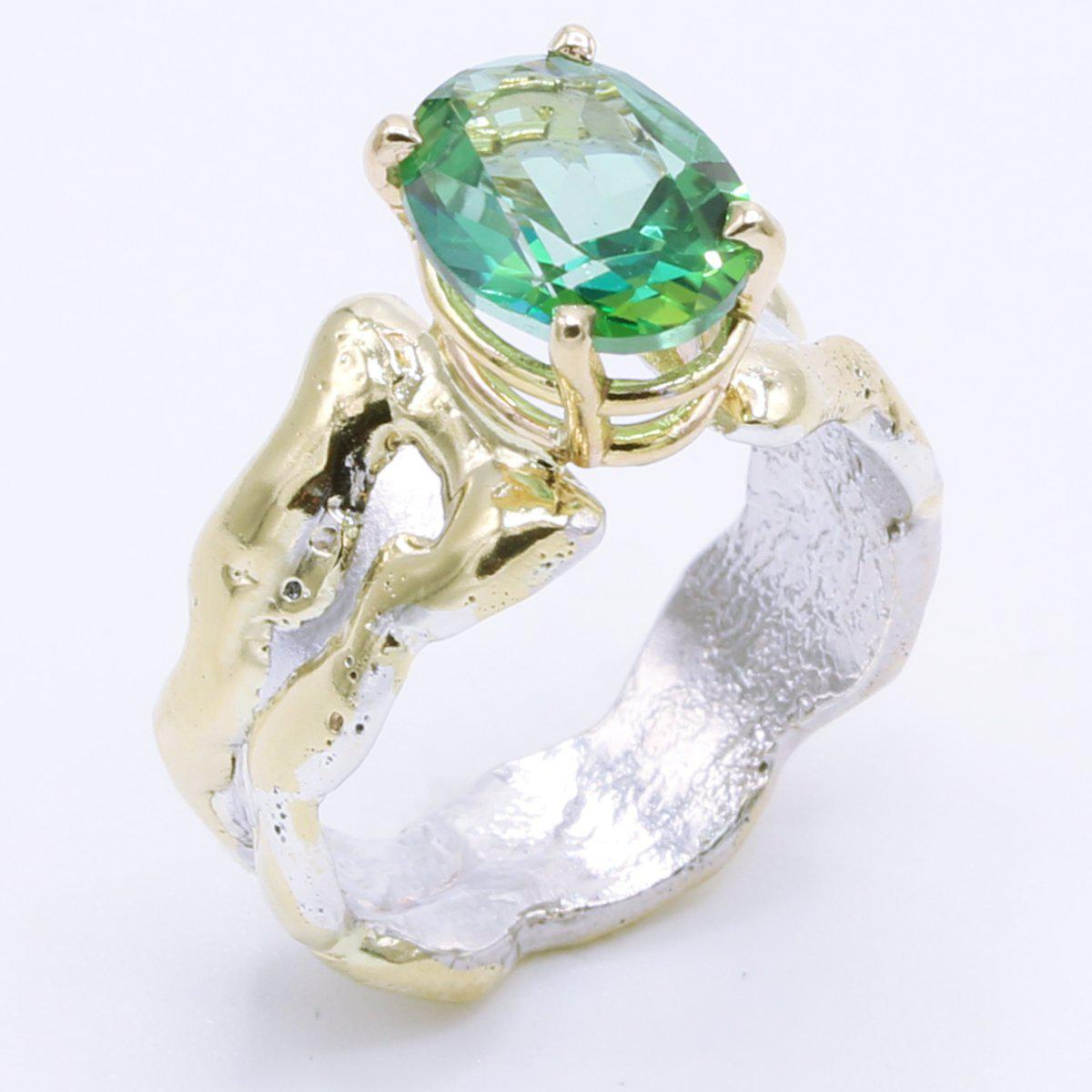 14K Gold & Crystalline Silver Rainforest Green Topaz Ring - 34996-Fusion Designs-Renee Taylor Gallery