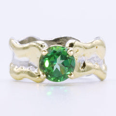 14K Gold & Crystalline Silver Rainforest Green Topaz Ring - 35157-Fusion Designs-Renee Taylor Gallery