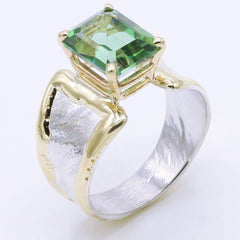14K Gold & Crystalline Silver Rainforest Green Topaz Ring - 35158-Fusion Designs-Renee Taylor Gallery