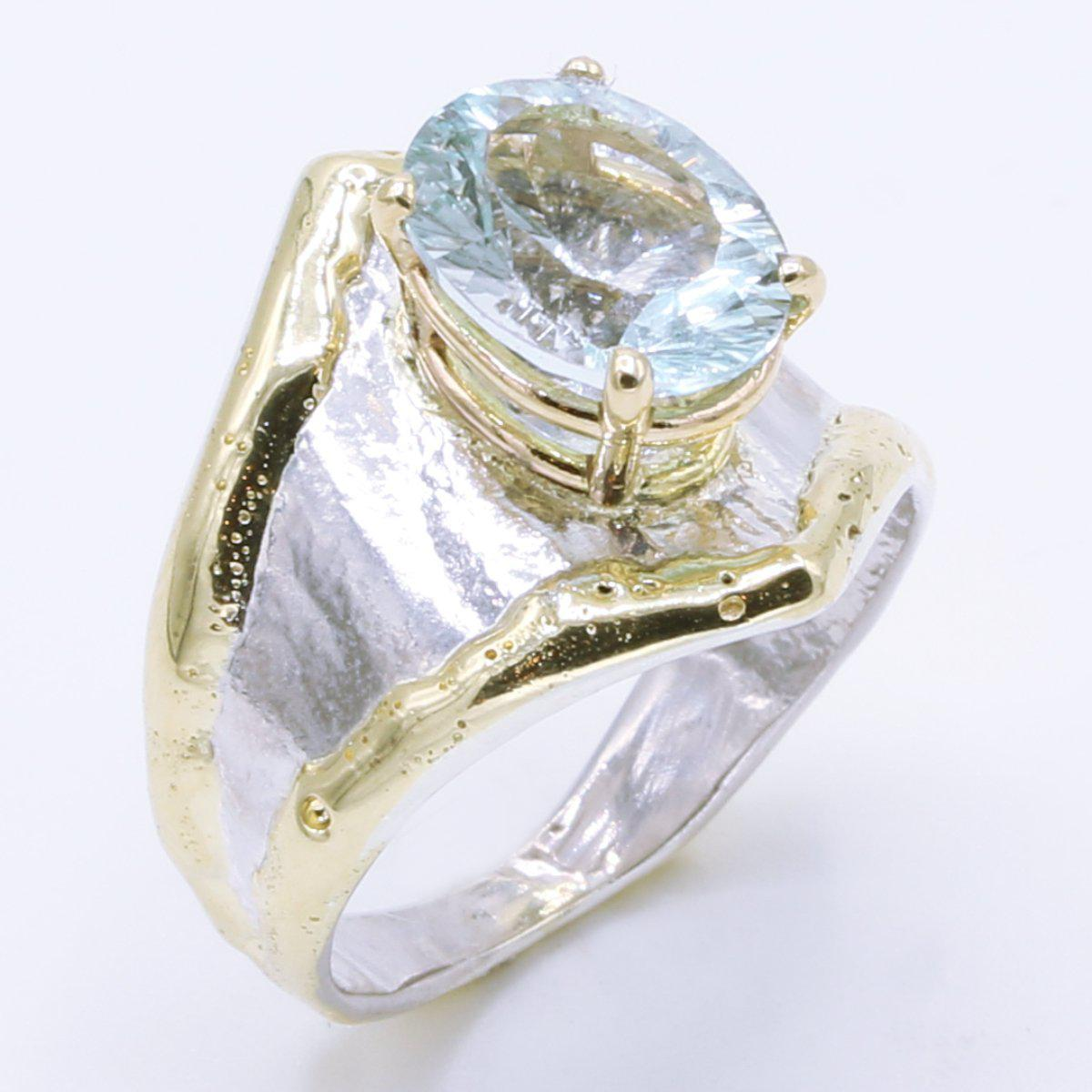 14K Gold & Crystalline Silver Sky Blue Topaz Ring - 35163-Fusion Designs-Renee Taylor Gallery