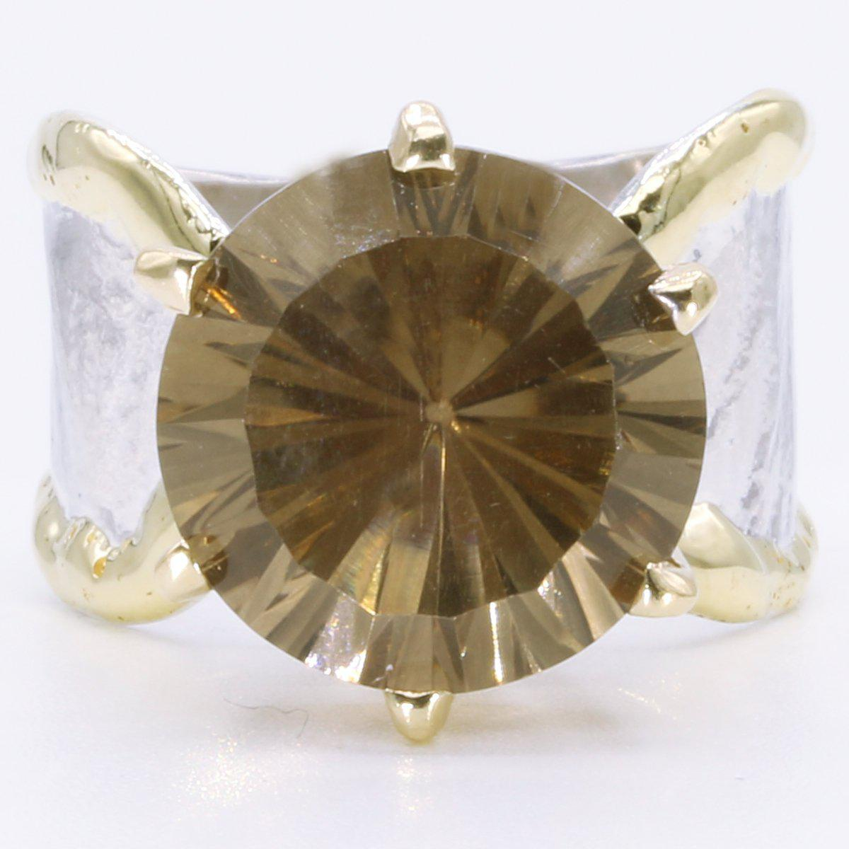 14K Gold & Crystalline Silver Smoky Quartz 14mm Ring - 35165-Fusion Designs-Renee Taylor Gallery