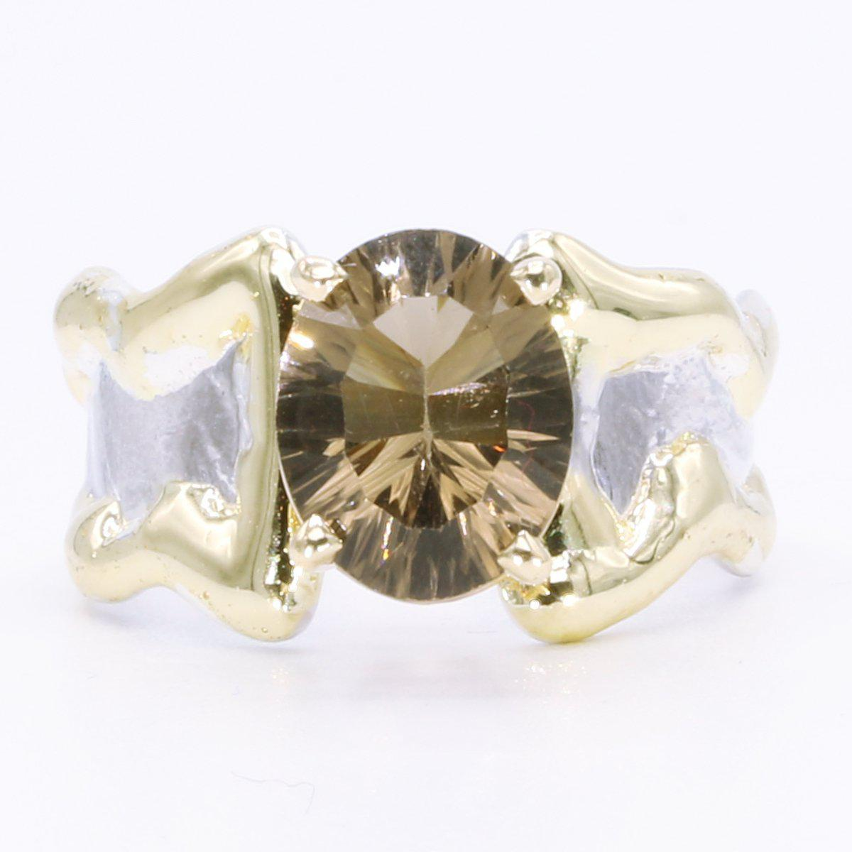 14K Gold & Crystalline Silver Smoky Quartz Ring - 35166-Fusion Designs-Renee Taylor Gallery