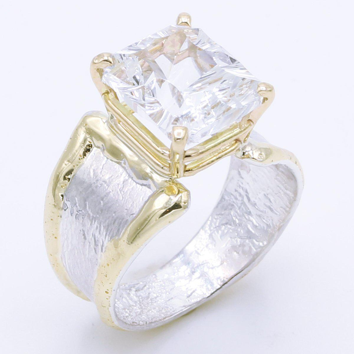 14K Gold & Crystalline Silver White Topaz Ring - 35167-Fusion Designs-Renee Taylor Gallery