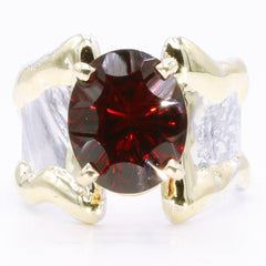 14K Gold & Crystalline Silver Garnet Ring - 35168-Fusion Designs-Renee Taylor Gallery