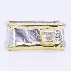 14K Gold & Crystalline Silver Diamond Ring - 35169-Fusion Designs-Renee Taylor Gallery