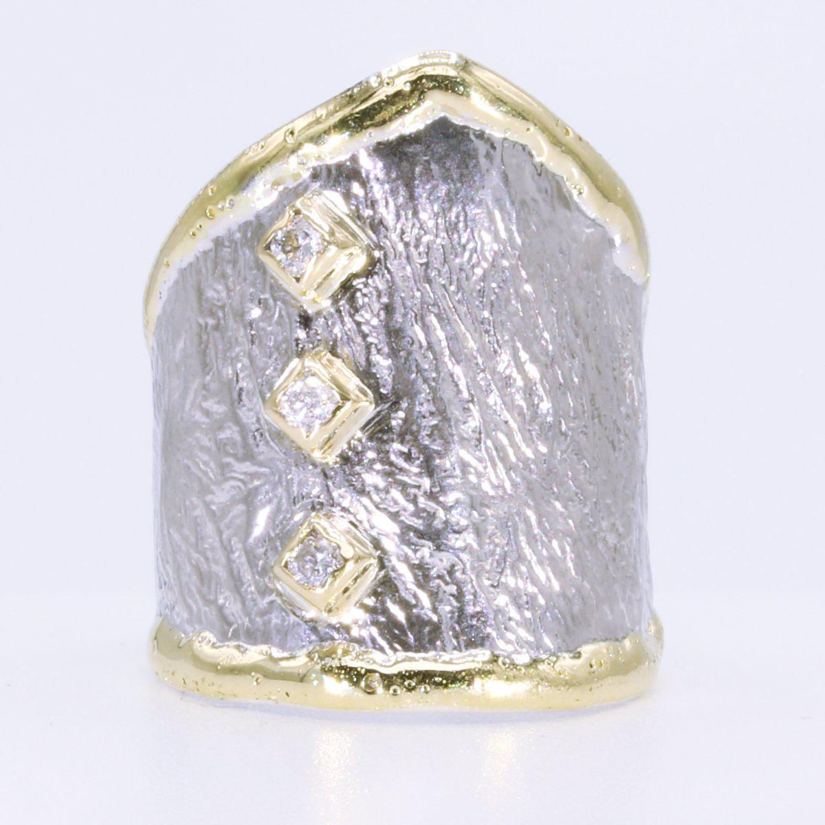 14K Gold & Crystalline Silver Diamond Ring - 35170-Fusion Designs-Renee Taylor Gallery