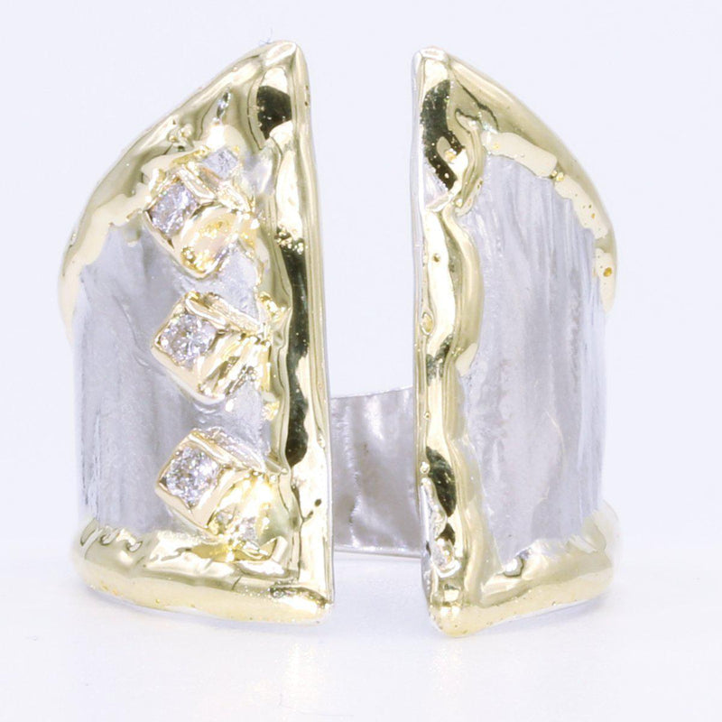 14K Gold & Crystalline Silver Diamond Ring - 35171-Fusion Designs-Renee Taylor Gallery