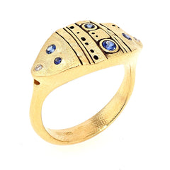 18K Leaf Blue Sapphire Diamond Dome Ring - R-200S-Alex Sepkus-Renee Taylor Gallery