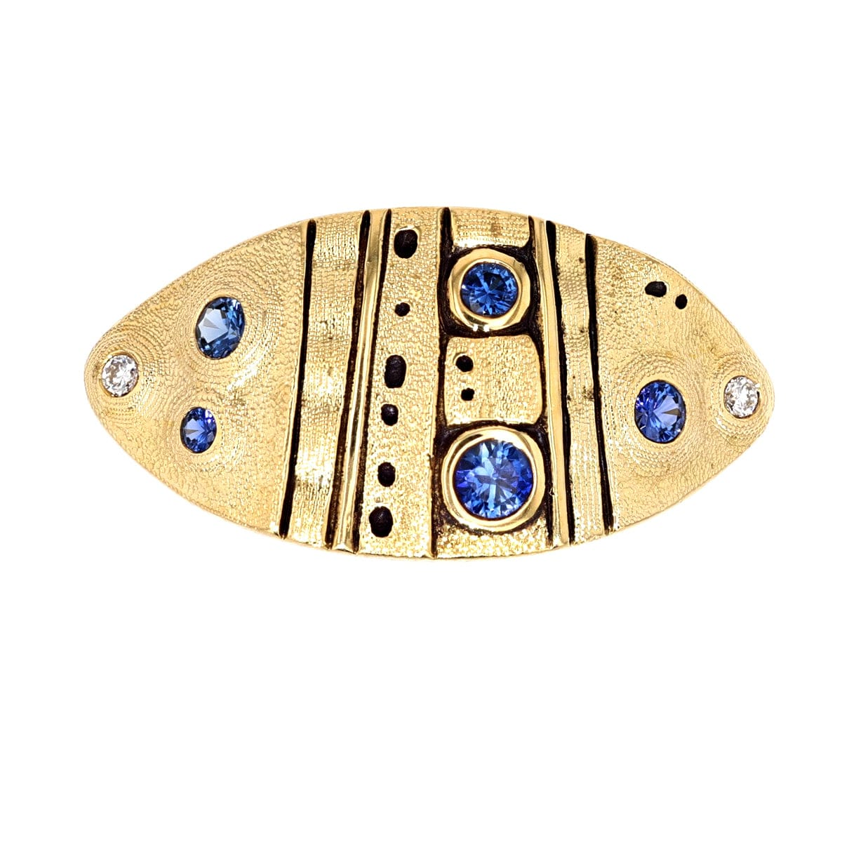 18K Leaf Blue Sapphire Diamond Dome Ring - R-200S
