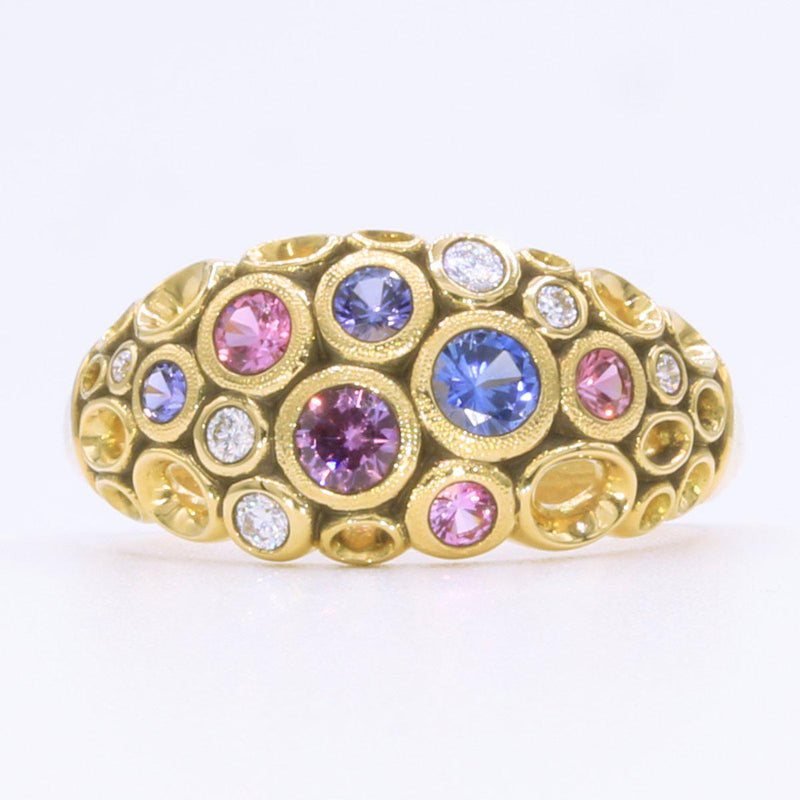 18K Open Work Diamond & Faceted Sapphire Ring - R-68FS-Alex Sepkus-Renee Taylor Gallery