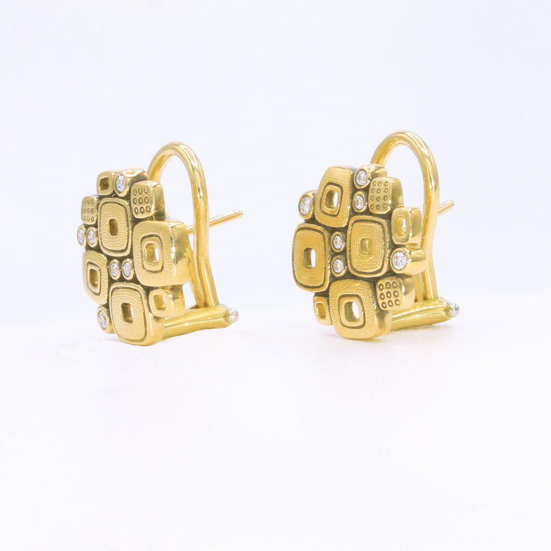 18K Little Windows Diamond Huggie Earrings - E-84-Alex Sepkus-Renee Taylor Gallery