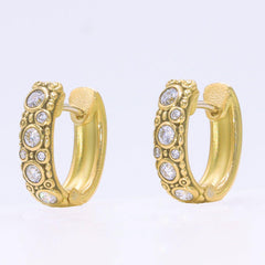 18K Oval Hoop Diamond Earrings - E-62D-Alex Sepkus-Renee Taylor Gallery