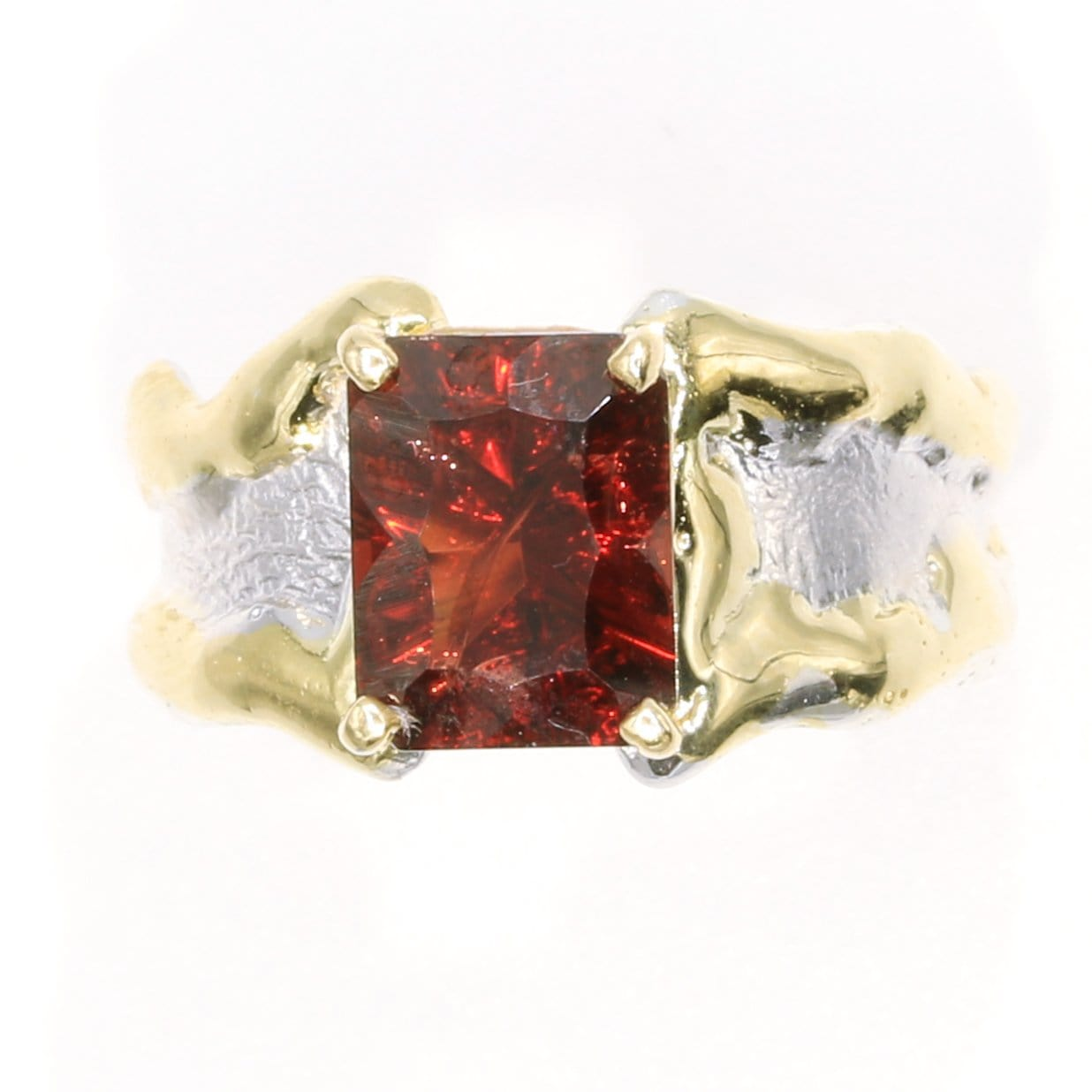 14K Gold & Crystalline Silver Garnet Ring - 35885-Fusion Designs-Renee Taylor Gallery