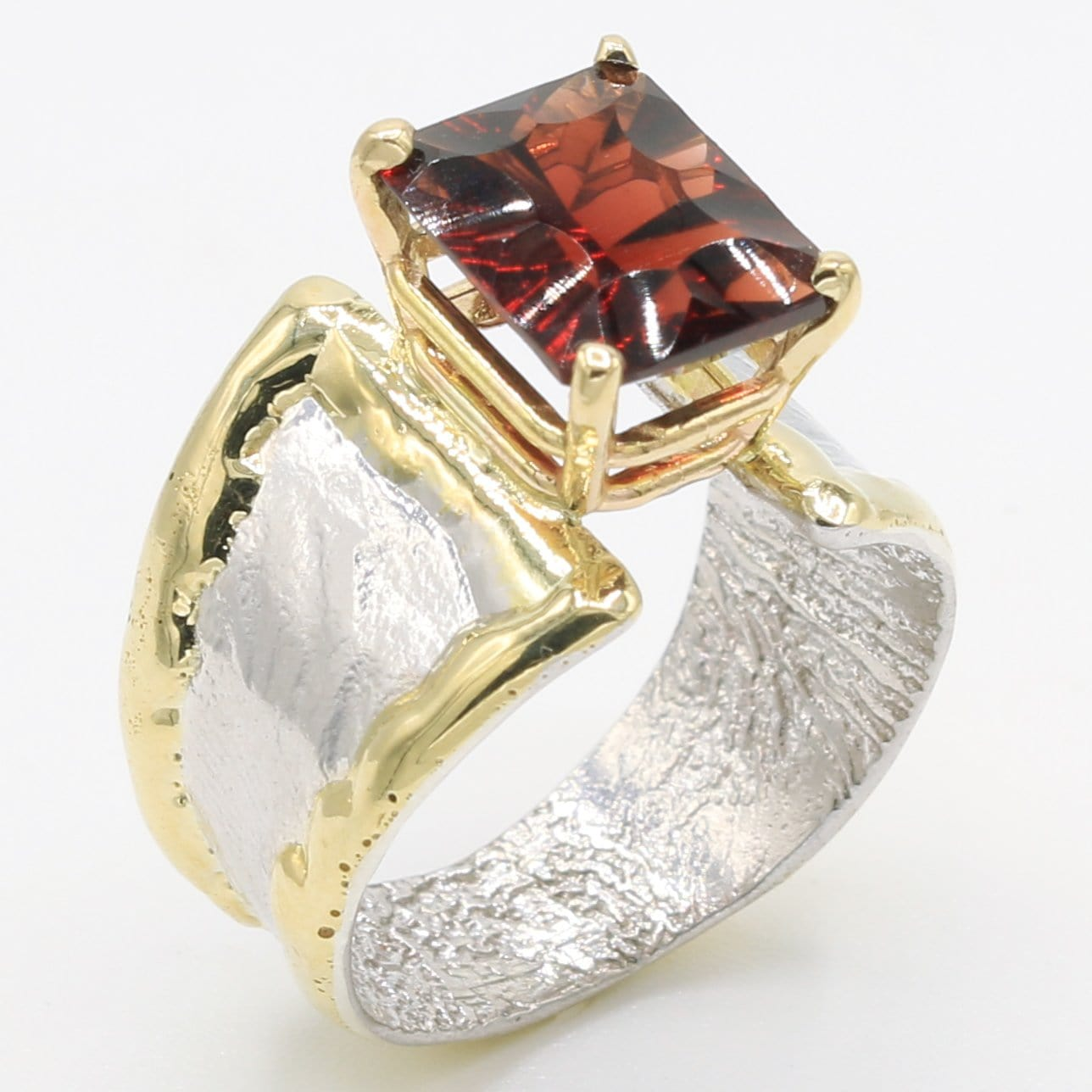 14K Gold & Crystalline Silver Garnet Ring - 35886-Fusion Designs-Renee Taylor Gallery
