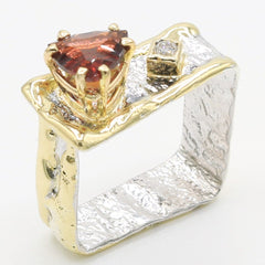 14K Gold & Crystalline Silver Garnet & Diamond Ring - 35887-Fusion Designs-Renee Taylor Gallery