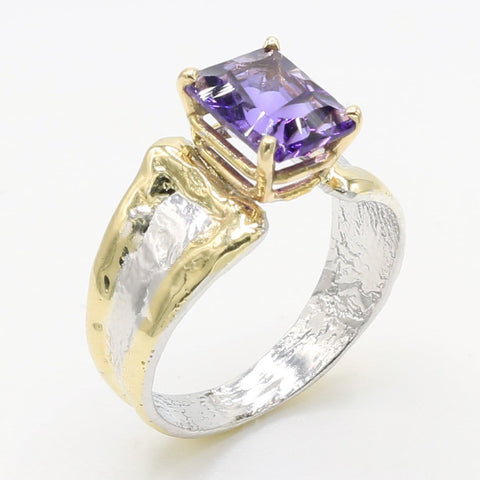 14K Gold & Crystalline Silver Amethyst Ring - 35888-Fusion Designs-Renee Taylor Gallery