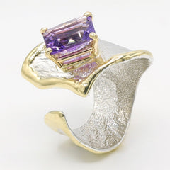14K Gold & Crystalline Silver Amethyst Ring - 35889-Fusion Designs-Renee Taylor Gallery