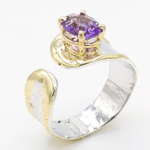 14K Gold & Crystalline Silver Amethyst Ring - 35890-Fusion Designs-Renee Taylor Gallery